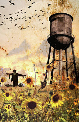 Sunflowers At Dusk Art Print