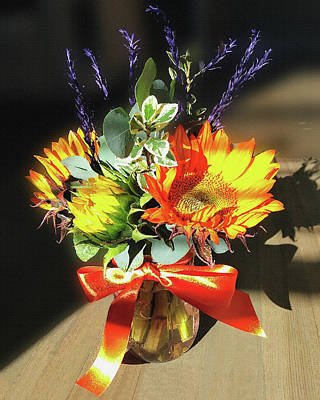 Mixed Media - Sunflowers Fall Bouquet  by Irina Sztukowski