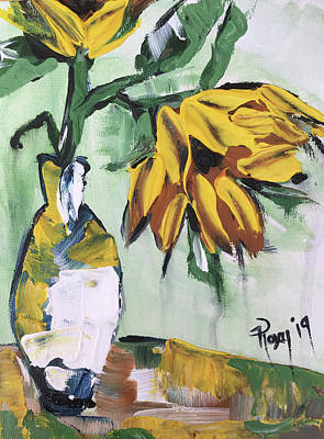 Abstract Painting - Sunflowers In A White Vase by Roxy Rich