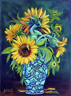 Sunflowers In An Art Deco Vase Art Print by Janet Silkoff