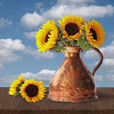Photograph - Sunflowers In Antique Copper Pitcher Square by Gill Billington