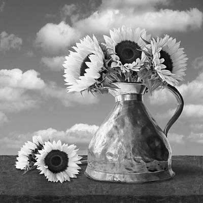 Photograph - Sunflowers In Copper Pitcher Black And White Square by Gill Billington