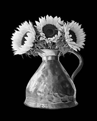 Photograph - Sunflowers In Copper Pitcher In Mono by Gill Billington