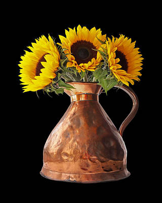 Photograph - Sunflowers In Copper Pitcher On Black by Gill Billington
