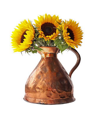 Photograph - Sunflowers In Copper Pitcher On White by Gill Billington