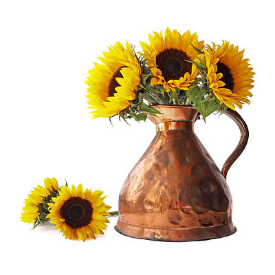 Photograph - Sunflowers In Copper Pitcher On White Square by Gill Billington