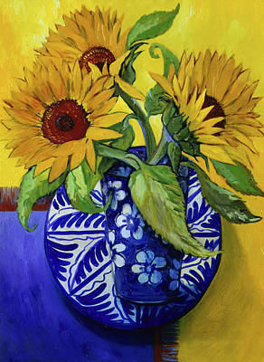 Painting - Sunflowers-series I By Isy Ochoa, Oil by Isy Ochoa