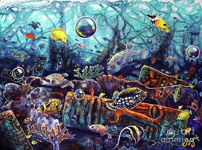 Painting - Sunken Tiki Reef by CBjork