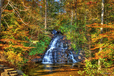 Photograph - Sunlight Drenched Greenville South Carolina Waterfall Art  by Reid Callaway