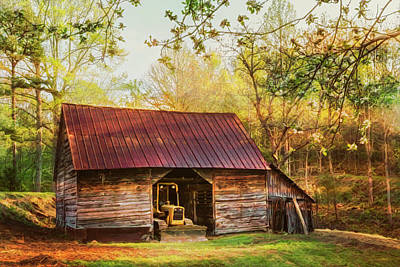 Photograph - Sunlight On The Barn In Early Spring Painting by Debra and Dave Vanderlaan