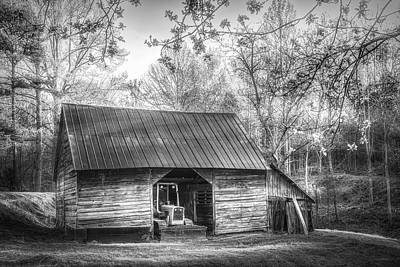 Photograph - Sunlight On The Barn In Spring In Black And White by Debra and Dave Vanderlaan