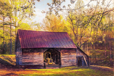 Photograph - Sunlight On The Barn In Spring Watercolor Painting by Debra and Dave Vanderlaan