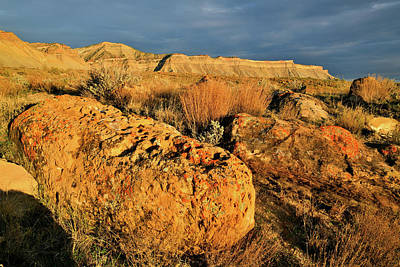 Photograph - Sunlit Book Cliffs Beneath Dark Clouds by Ray Mathis