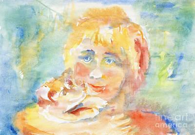 Painting - Sunny Child And Puppy by Irina Dobrotsvet