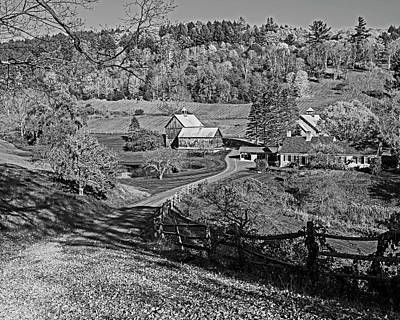 Photograph - Sunny Day On Sleepy Hollow Farm Woodstock Vermont Black And White by Toby McGuire