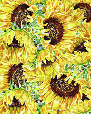 Royalty-Free and Rights-Managed Images - Sunny Day Watercolor Sunflowers Pattern by Irina Sztukowski
