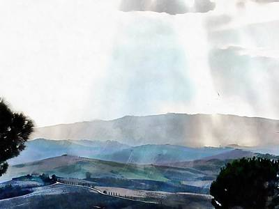 Photograph - Sunrays Through Mist Tuscany by Dorothy Berry-Lound