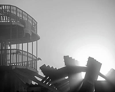 Photograph - Sunrays Through The Waterwheel New Orleand La Louisiana Sunrise Black And White by Toby McGuire