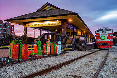 Photograph - Sunrise At Branson Scenic Railway Christmas Polar Express by Gregory Ballos