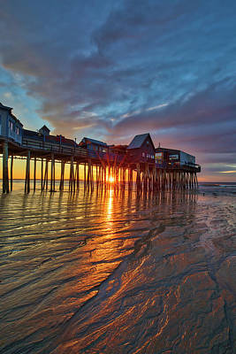 Photograph - Sunrise At Old Orchard Beach With Its Iconic Pier by Juergen Roth