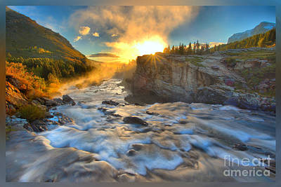 Photograph - Sunrise At Swiftcurrent Falls T-shirt by Adam Jewell