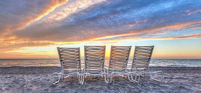 Photograph - Sunrise At The Beach Panorama by Debra and Dave Vanderlaan