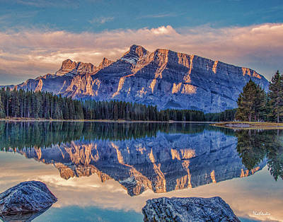 Photograph - Sunrise At Two Jack Lake by Tim Kathka