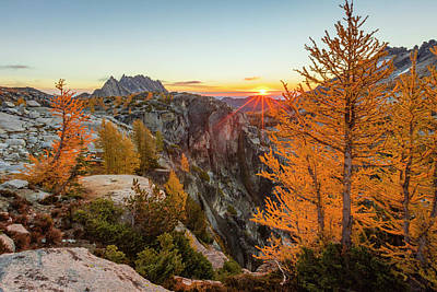 Photograph - Sunrise Below Asgard Pass by Johnny Adolphson