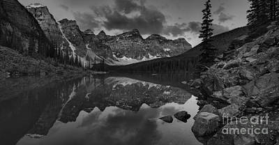 Photograph - Sunrise Below The Moraine Lake Rockpile Black And White by Adam Jewell