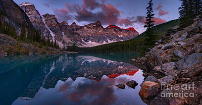 Photograph - Sunrise Below The Moraine Lake Rockpile by Adam Jewell