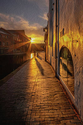 Photograph - Sunrise Canalside Shadow by Chris Fletcher