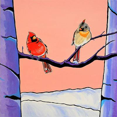 Painting - Sunrise Cardinals by Sonja Jones