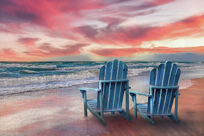 Photograph - Sunrise Colors At The Beach by Debra and Dave Vanderlaan