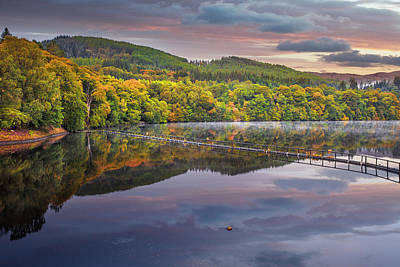 Photograph - Sunrise Colors At The Lake In Pitlochry by Debra and Dave Vanderlaan
