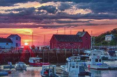 Photograph - Sunrise On Rockport Harbor by Jeff Folger