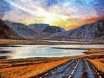 Digital Art - Sunrise On The Open Road In Iceland. by Digital Photographic Arts