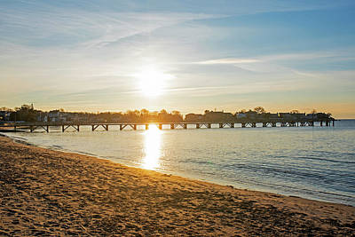 Photograph - Sunrise Over Fisherman's Pier Swampscott Ma North Shore New England Fisherman's Beach by Toby McGuire