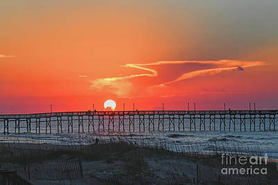 Photograph - Sunrise Over The Ocean Isle Beach Pier by Kerri Farley