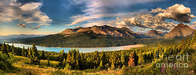 Photograph - Sunrise Over Upper Two Medicine Lake Panorama by Adam Jewell