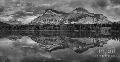 Photograph - Sunrise Reflections At Wedge Pond Panorama Black And White by Adam Jewell