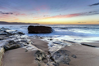 Photograph - Sunrise, Sea, Rocks And The Beach by Merrillie Redden
