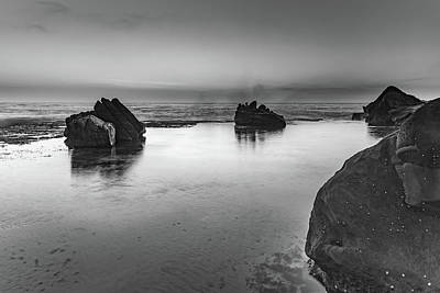 Photograph - Sunrise Seascape And Rock Ledge In Black And White by Merrillie Redden
