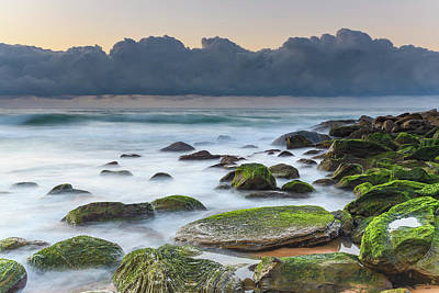 Photograph - Sunrise Seascape And Rocks With Green Moss by Merrillie Redden