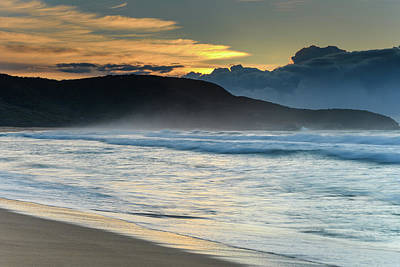 Photograph - Sunrise Seascape, Clouds And Headland by Merrillie Redden