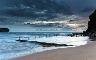 Photograph - Sunrise Seascape, Ocean Pool And Cloudy Sky by Merrillie Redden