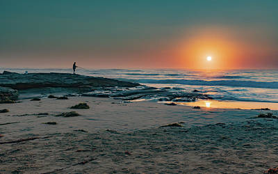 Photograph - Sunrise Seascape With Fisherman by Merrillie Redden