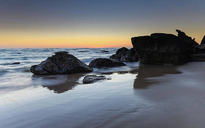 Photograph - Sunrise Seascape With Rocks On The Beach by Merrillie Redden