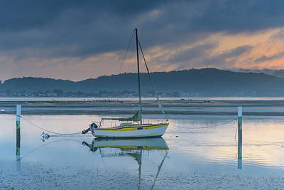 Photograph - Sunrise Soft Blue Bay Waterscape With White And Yellow Boat by Merrillie Redden