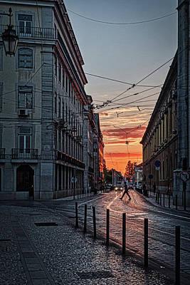 Photograph - Sunrise Street Crossing - Lisbon - Portugal by Stuart Litoff