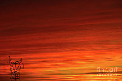 Photograph - Sunset And Electricity by Les Palenik